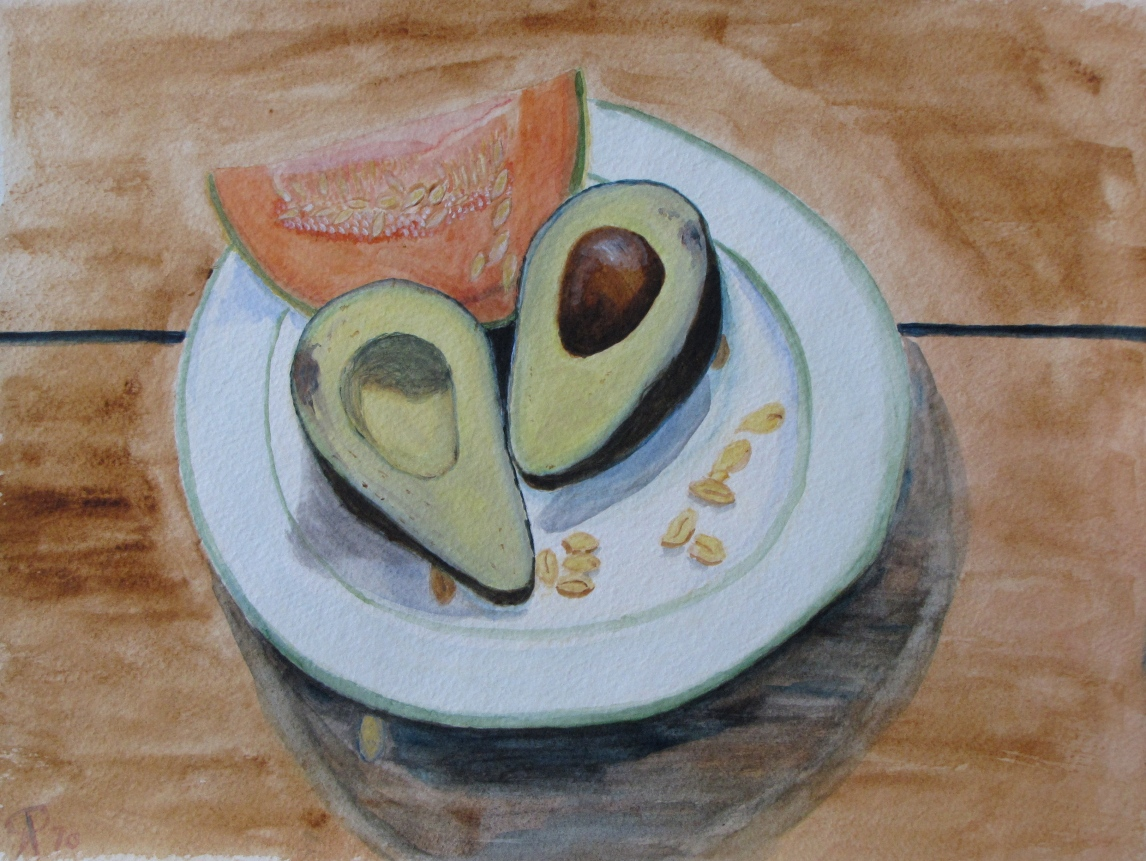 "Still Life with Avocado, Russell Steven Powell watercolor on paper, 15""x11"""